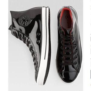 Converse Black Patent Leather High-Top Tennis Shoe